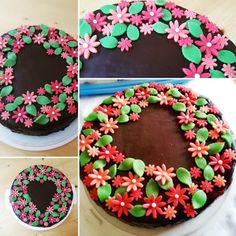 Frühlingshafte Deko mit Blumen aus Marzipan. Als Herz ausgelegt. Folgt mir auch auf Instagram und Facebook unter lacky-baking Marzipan, Birthday Cake, Desserts, Facebook, Food, Instagram, Chocolate, Pies, Bakken