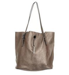 Zo Tassen imitatieleren tas voorzien van een veter sluiting - Zilverkleurig - NummerZestien.eu