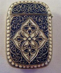 Vintage Vesta Case / Match Safe - Blue Enamelled - Scandinavian / Danish ?