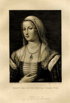The so-called portrait of Madonna Laura, the muse of Petrarch,  after a painting said to be by Simon Memmi; open letter state. 1819 -     Print made by Raphael Morghen.    The British Museum