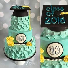 This cake was for a high school graduation last weekend. She is a beautiful classy young lady and this design fit her to a tee. This girl is going places and we loved how it all came out. Cake bottom tier was butter vanilla, middle was strawberry...