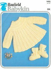 Hayfield 1495 baby matinee dress set ORIGINAL vintage knitting pattern