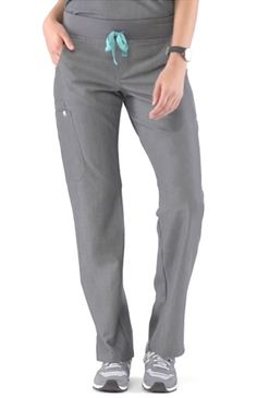 Kade Cargo Graphite Scrubs - Inspired by yoga apparel, these women's Kade cargo scrub pants are stylish, flexible, and comfy. Part of FIGS' Technical collection of tailored-fit scrubs.