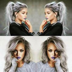 grey hair, Rihanna