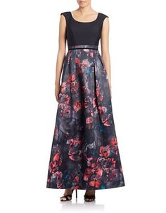 Kay Unger Floral-Print Skirt A-Line Gown Women's Black Multi 4