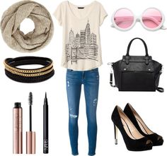 Fall Outfit Idea 2016 Polyvore.Great for Moms,Schools,Teens,Hipster,Women,This outfit can be worn casually or in parties. streetstyle chic fall outfit classy warm trendy party winter.Banana Republic short sleeve shirt-Frame Denim ripped skinny jeans-GUESS high heel shoes-Pink Haley man bag-Vita Fede leather wrap bracelet-John Lewis scarve
