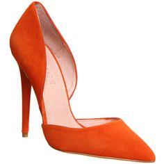 Office Panther 2 Part Court (6520 RSD) ❤ liked on Polyvore featuring shoes, pumps, heels, high heels, orange suede, women, pointy toe stiletto pumps, heels & pumps, pointed toe stilettos and orange pumps
