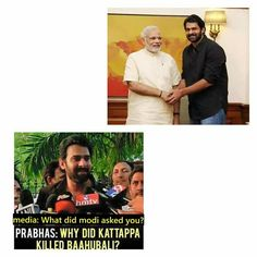 Prabhas, Baahubali - funny Some Funny Jokes, Funny Memes, Casual Work Attire, Births, Indian Movies, Real Men, Riddles, Puns, Sarcasm
