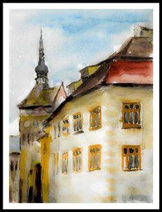 Black Framed Print featuring the painting the black church of Brasov by Cuiava Laurentiu Black Church, Framed Prints, Art Prints, Fine Art America, City, Painting, Painting Art, Paintings, Paint