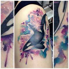 Galaxy orca by @isla_mcd_tattoos. #tattoo #watercolourtattoo #orcatattoo…