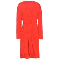 Isabel Marant Dias Silk and Wool-Blend Wrap-Style Dress (€1.010) ❤ liked on Polyvore featuring dresses, red, red dress, silk dress, isabel marant dress, isabel marant and red silk dress
