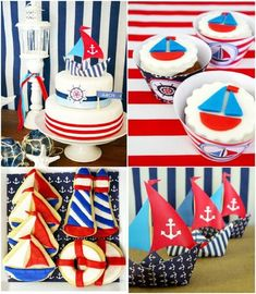 Nautical birthday party ideas with lots of DIY decorations, party printables, food and favors! First Birthday Parties, Boy Birthday, First Birthdays, Birthday Ideas, Sailor Birthday, Birthday Desserts, Summer Birthday, Party Desserts, Birthday Cake
