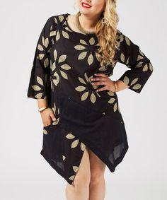 Love this Black & Olive Floral Pocket Tulip-Hem Tunic - Plus on #zulily! #zulilyfinds