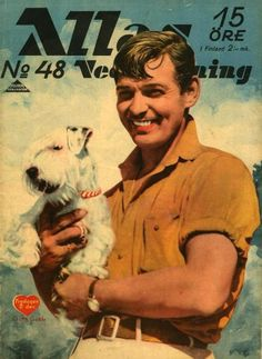 """Clark Gable on the cover of """"Allas Veckotidning"""" magazine, Sweden, 1938."""
