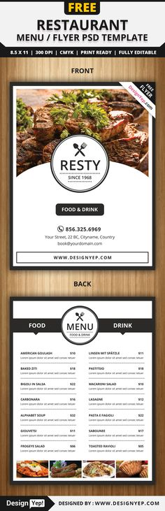 Free Restaurant Menu / Flyer PSD Template - Delivery Food - Ideas of Delivery Food - Free Restaurant Menu / Flyer PSD Template Flyer Restaurant, Restaurant Menu Template, Restaurant Menu Design, House Restaurant, Free Menu Templates, Food Menu Template, Flyer Template, Cafeteria Menu, Rollup Design