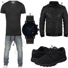 Schwarzes Herren-Outfit mit Lederjacke und Chronograph (m0480) #lederjacke #gigandet #tommyhilfiger #supra #outfit #style #fashion #menswear #mensfashion #inspiration #shirt #cloth #clothing #männermode #herrenmode #shirt #mode #styling #sneaker #menstyle