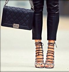 Lace up heels, black strapped shoes. Latest shoes trends.