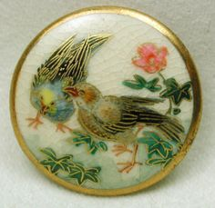 """Old Satsuma Button 2 Colorful Birds & Flower w/ Gold Accents Back Mark 1& 1/8"""""""