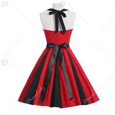Retro Small Polka Dot Halter Swing Dress