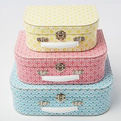 Sass & Belle Set of 3 Moroccan Geometrics Blue Pink Yellow Suitcases Storage…