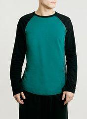 GREEN/BLACK CONTRAST RAGLAN LONG SLEEVE T-SHIRT