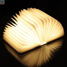 Excelvan Upgrade Wooden LED Folding Book Lamp Night Lights Wall Magnetic Lamp with Lithium Batteries and USB Rechargeable(Warm White) Tyvek Papier, Book Lamp, Portable Table, Christmas Deals, Color Changing Led, Led Night Light, Night Lights, Lampe Led, White Light