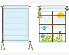 Easy Roman shades.  Great for every room...just need to make sure dowels can be long enough.