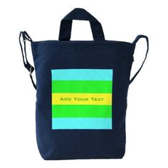 Yellow Green Blue Wide Stripes by Shirley Taylor Duck Bag - #customizable create your own personalize diy