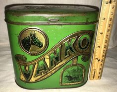 ANTIQUE VANKO TIN LITHO TOBACCO CAN VINTAGE HORSE RACING SULKY COUNTRY STORE OLD