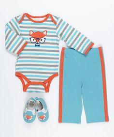 Another great find on #zulily! Turquoise & Orange Fox Bodysuit Set #zulilyfinds