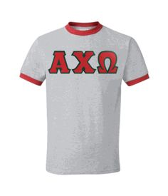 Alpha Chi Omega Lettered Ringer Shirt