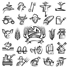 Farm Logos Hand Drawn Vector