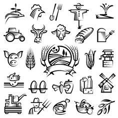 Farm logos hand drawn vector
