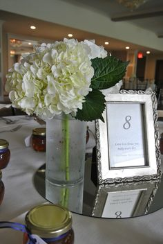 Simple hydrangea bouquets for the tables.