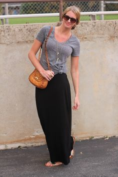 gray tee + black maxi skirt + gold jewelry for a comfy, casual night look