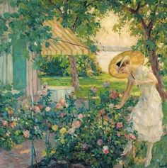 American Impressionist Painter - Edward Cucuel (1875-1954) In the rose garden