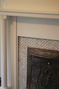 Fireplace Tile Surround Herringbone And Diy Fireplace Mantel