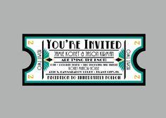 Vintage - 1920's Antique Art Deco Movie Ticket Wedding Invitation Set with matching address labels and envelopes