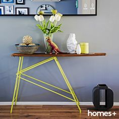 An upcycled ironing board make an eye-catching console in Jet and Joey's As featured in the August 2015 issue of homes+. Contemporary Style Homes, Paper Folding, House And Home Magazine, Interior Inspiration, Console, Jet, Upcycle, House Design, Board