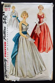 Simplicity 4440 Evening Dress/Bolero/Sash 50s Sz14/32/35 Upper front bodice has soft pleats at bust line & joins shaped midriff.Skirt is a full circle.Bolero is lined at all times.3/4 length sleeves are cut in one with bolero.View1 is strapless & features bodice trim.Sash & bodice trim are of contrasting fabric. c/c used sld 41+2.67 18bds 4/30/17