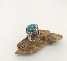 Handmade Silver Ring Turquoise Stone, Rock Love Retro  | eBay