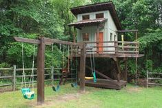 Outdoor Playhouse With Swing Set | playhouse & swingClick To Enlarge #outdoorplayhouseideas #outdoorplayhouseplans