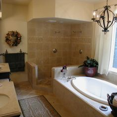 Mediterranean Home doorless shower Design Ideas, Pictures, Remodel and Decor