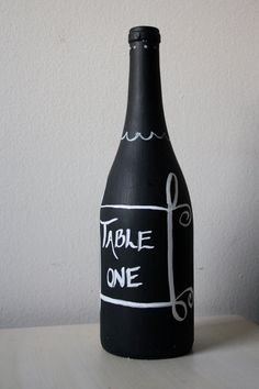 Chalkboard paint bottle to use as table numbers.