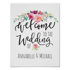 Welcome To The Wedding Of Signage Peonies Poster @zazzle #junkydotcom Aug 14 2016