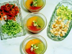 Cool Three-Tomato Gazpacho really hits the spot on a hot summer day.