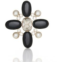 St. John Signature Pearl Brooch With Crystals ($125) ❤ liked on Polyvore featuring jewelry, brooches, brooch, brooches & pins, gold, white pearl jewelry, pearl jewelry, st. john jewelry, pearl broach and pin jewelry