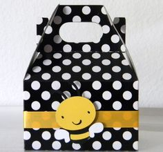 Bumble Bee Favor Boxes  Black and White Polka by YourPartyShoppe, $17.00