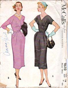 Vintage Womens Dress Size 18 1953 McCalls 9610
