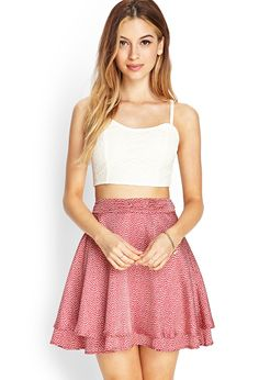 Crop top with pink skater skirt
